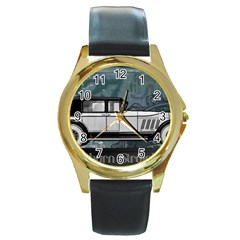 Vintage Car Automobile Auburn Round Gold Metal Watch