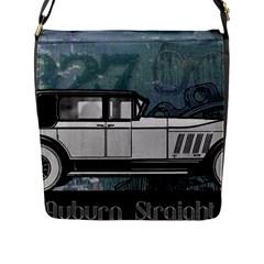 Vintage Car Automobile Auburn Flap Messenger Bag (l)