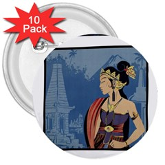 Java Indonesia Girl Headpiece 3  Buttons (10 Pack)