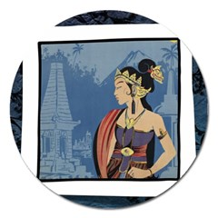 Java Indonesia Girl Headpiece Magnet 5  (round)