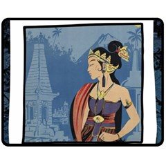 Java Indonesia Girl Headpiece Fleece Blanket (medium)