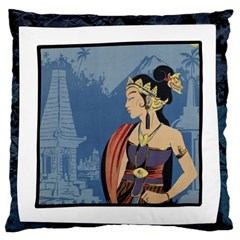 Java Indonesia Girl Headpiece Large Flano Cushion Case (two Sides)