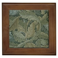 Vintage Background Green Leaves Framed Tiles