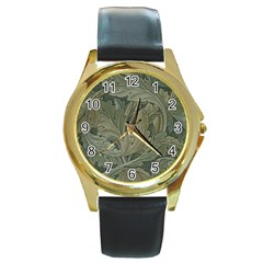 Vintage Background Green Leaves Round Gold Metal Watch
