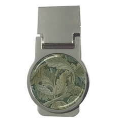 Vintage Background Green Leaves Money Clips (round)  by Nexatart