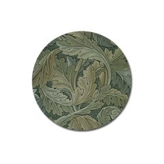 Vintage Background Green Leaves Magnet 3  (round) by Nexatart