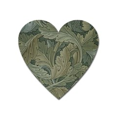 Vintage Background Green Leaves Heart Magnet