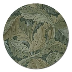 Vintage Background Green Leaves Magnet 5  (round) by Nexatart