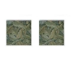 Vintage Background Green Leaves Cufflinks (square)
