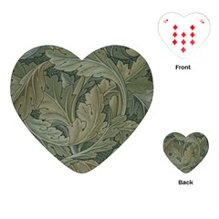 Vintage Background Green Leaves Playing Cards (heart)