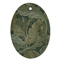 Vintage Background Green Leaves Oval Ornament (two Sides)