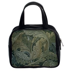 Vintage Background Green Leaves Classic Handbags (2 Sides)