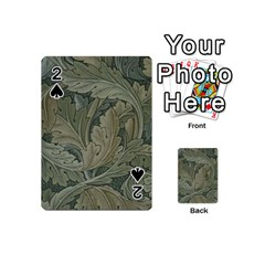 Vintage Background Green Leaves Playing Cards 54 (mini)