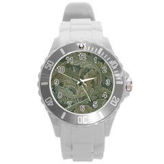 Vintage Background Green Leaves Round Plastic Sport Watch (l)