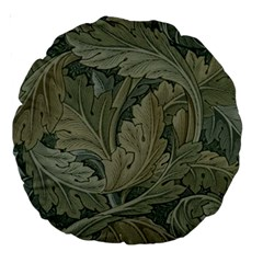Vintage Background Green Leaves Large 18  Premium Round Cushions