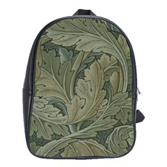 Vintage Background Green Leaves School Bag (xl) by Nexatart