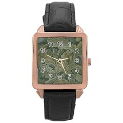 Vintage Background Green Leaves Rose Gold Leather Watch  by Nexatart