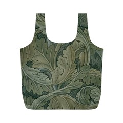Vintage Background Green Leaves Full Print Recycle Bags (m)