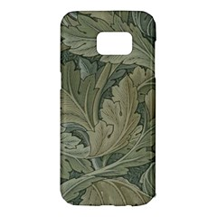 Vintage Background Green Leaves Samsung Galaxy S7 Edge Hardshell Case
