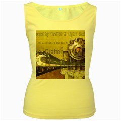 Train Vintage Tracks Travel Old Women s Yellow Tank Top