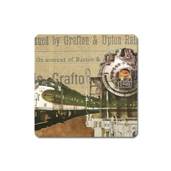 Train Vintage Tracks Travel Old Square Magnet