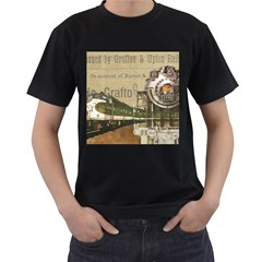 Train Vintage Tracks Travel Old Men s T Shirt (black) (two Sided)