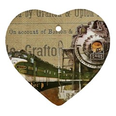 Train Vintage Tracks Travel Old Heart Ornament (two Sides)