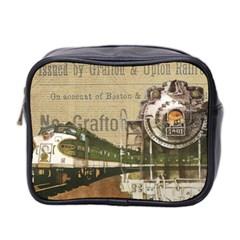 Train Vintage Tracks Travel Old Mini Toiletries Bag 2 Side