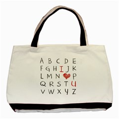 Love Alphabet Basic Tote Bag by Valentinaart