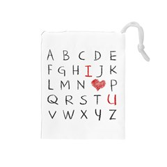 Love Alphabet Drawstring Pouches (medium)  by Valentinaart