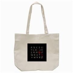 Love Alphabet Tote Bag (cream) by Valentinaart
