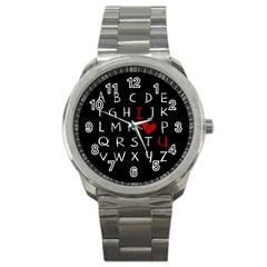 Love Alphabet Sport Metal Watch by Valentinaart