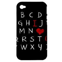 Love Alphabet Apple Iphone 4/4s Hardshell Case (pc+silicone) by Valentinaart