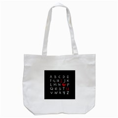 Love Alphabet Tote Bag (white) by Valentinaart