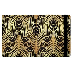 Gold, Black,peacock Pattern,art Nouveau,vintage,belle Epoque,chic,elegant,peacock Feather,beautiful Apple Ipad 3/4 Flip Case by 8fugoso