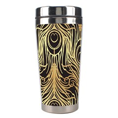 Gold, Black,peacock Pattern,art Nouveau,vintage,belle Epoque,chic,elegant,peacock Feather,beautiful Stainless Steel Travel Tumblers by 8fugoso