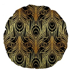 Gold, Black,peacock Pattern,art Nouveau,vintage,belle Epoque,chic,elegant,peacock Feather,beautiful Large 18  Premium Flano Round Cushions by 8fugoso