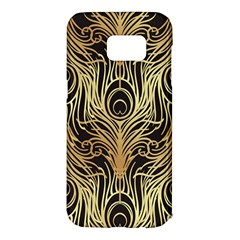 Gold, Black,peacock Pattern,art Nouveau,vintage,belle Epoque,chic,elegant,peacock Feather,beautiful Samsung Galaxy S7 Edge Hardshell Case