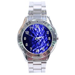 Blue Ripple Stainless Steel Analogue Watch by vwdigitalpainting