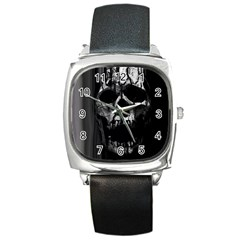 Black And Grey Nightmare Square Metal Watch by vwdigitalpainting