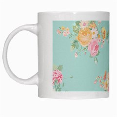 Mint,shabby Chic,floral,pink,vintage,girly,cute White Mugs by 8fugoso