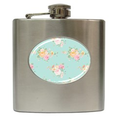 Mint,shabby Chic,floral,pink,vintage,girly,cute Hip Flask (6 Oz) by 8fugoso