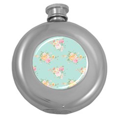Mint,shabby Chic,floral,pink,vintage,girly,cute Round Hip Flask (5 Oz) by 8fugoso