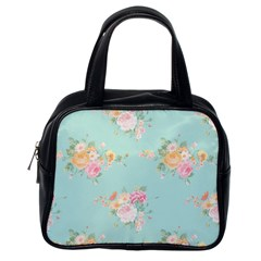 Mint,shabby Chic,floral,pink,vintage,girly,cute Classic Handbags (one Side) by 8fugoso