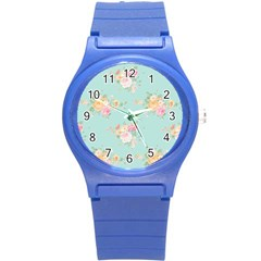 Mint,shabby Chic,floral,pink,vintage,girly,cute Round Plastic Sport Watch (s) by 8fugoso