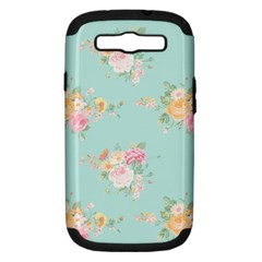 Mint,shabby Chic,floral,pink,vintage,girly,cute Samsung Galaxy S Iii Hardshell Case (pc+silicone) by 8fugoso