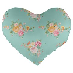 Mint,shabby Chic,floral,pink,vintage,girly,cute Large 19  Premium Heart Shape Cushions by 8fugoso