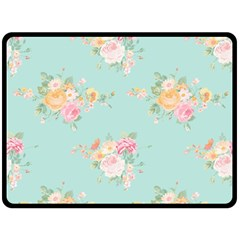 Mint,shabby Chic,floral,pink,vintage,girly,cute Double Sided Fleece Blanket (large)  by 8fugoso