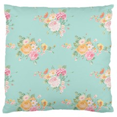 Mint,shabby Chic,floral,pink,vintage,girly,cute Large Flano Cushion Case (one Side) by 8fugoso