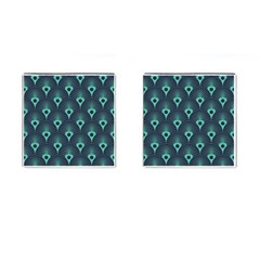 Blue,teal,peacock Pattern,art Deco Cufflinks (square) by 8fugoso
